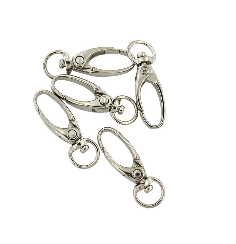 Silver Tone Swivel Lobster Clasps - 38mm x 13mm - 10 Pieces - FD546