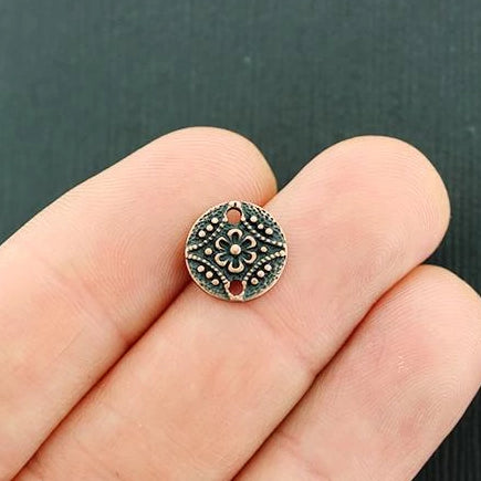 10 Mandala Connector Antique Bronze Tone Charms - BC322
