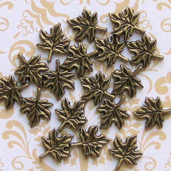10 Maple Leaf Antique Bronze Tone Charms - BC220
