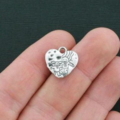 2 Mother Child Charms Antique Silver Tone SC6243