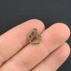 10 Paw Antique Bronze Tone Charms 2 Sided - BC275