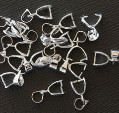 Silver Tone Pinch Bail - 5mm x 15mm - 10 Pieces - FD005