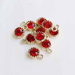 10 Red Rhinestone Gold Tone Charms - DBD568