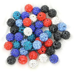 Round Polymer Clay Rhinestone Beads 10mm - Assorted Red, White, Blue, and Black - 10 Beads - BD1385