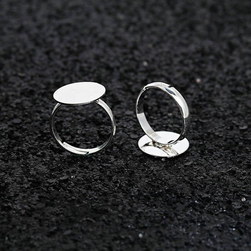 Silver Tone Adjustable Ring Bases - 16.1mm with 19mm Glue Pad - 10 Pieces - FD500
