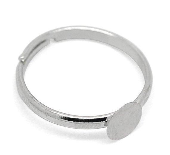 Silver Tone Adjustable Ring Bases - 15.5mm With 6mm Glue Pad - 10 Pieces - FD043