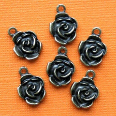 10 Rose Antique Bronze Tone Charms - BC573