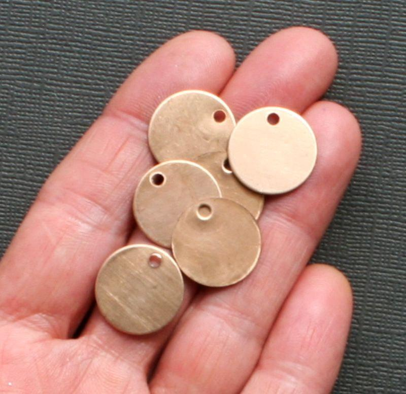 Circle Stamping Blanks - Antique Bronze Tone Plated Copper - 17.5mm - 10 Tags - MT051