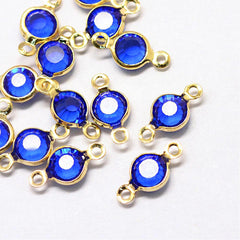 10 September Birthstone Gold Tone Charms - Connector - DBD579