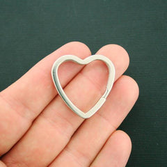 Heart Silver Tone Key Rings - 31mm - 10 Pieces - Z429