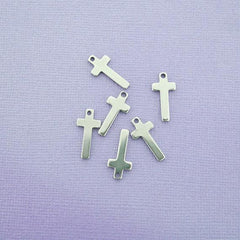 Cross Stamping Blanks - Stainless Steel - 19mm x 9mm - 10 Tags - MT250