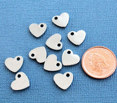 Heart Stamping Blanks - Stainless Steel - 11mm x 10mm - 10 Tags - MT102