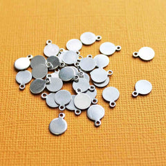 Circle Stamping Blanks - Stainless Steel - 9.5mm x 7mm - 10 Tags - MT028