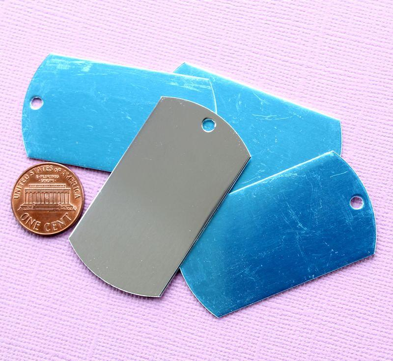 Dog Tag Stamping Blanks - Silver Aluminum - 50.8mm x 27.9mm - 10 Tags - MT075