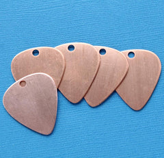Guitar Pick Stamping Blanks - Antique Copper Tone Plated Copper - 28mm x 25mm - 10 Tags - MT164