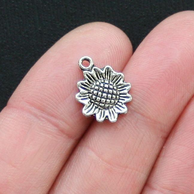 10 Sunflower Antique Silver Tone Charms - SC2785