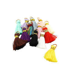 Cotton Tassels with Jump Ring - Assorted Rainbow - 10 Pieces - Z940