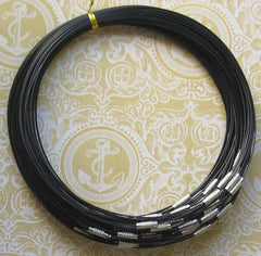 Black Steel Wire Bangle Chokers - 140mm - 10 Chokers - Z393