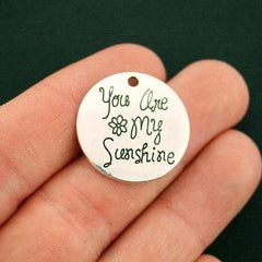 10 You Are My Sunshine Antique Silver Tone Charms - SC6677