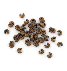 Antique Copper Tone Crimp Bead Covers - 5mm Open, 4mm Closed - 100 Pieces - FD627