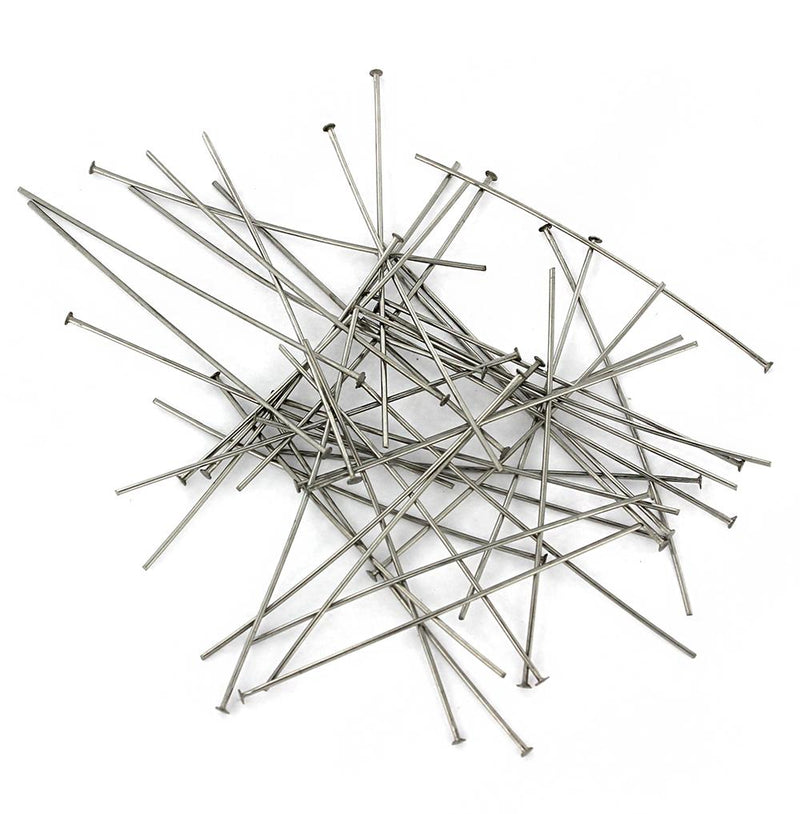 Stainless Steel Flat Head Pins - 50mm - 100 Pieces - PIN062