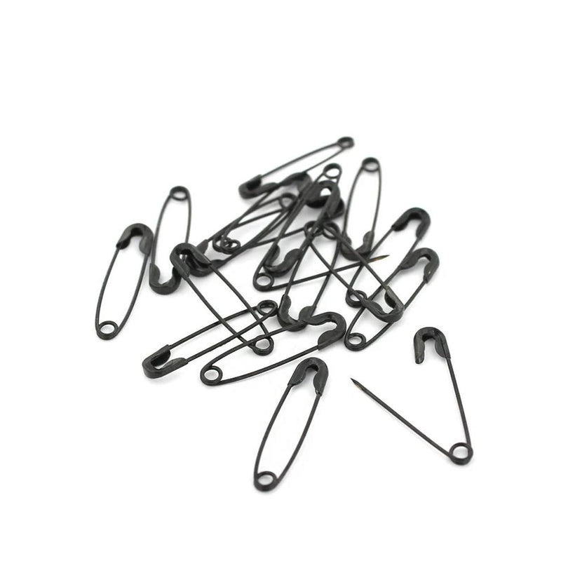 Gunmetal Tone Safety Pins - 22mm x 5mm - 100 Pieces - Z885