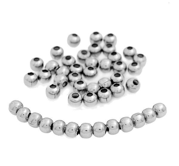 Spacer Metal Beads 3mm x 3mm - Silver Tone - 1000 Beads - FD025