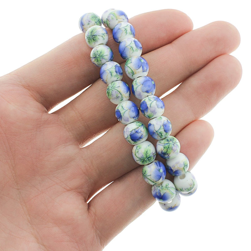 Round Ceramic Beads 8mm - Blue Floral - 1 Strand 40 Beads - BD245