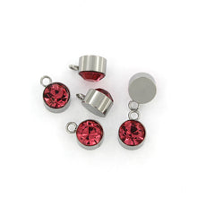 4 October Birthstone Silver Tone Stainless Steel Charms - MT467