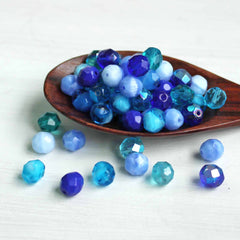 10 Czech Glass 8mm Beads Fire Polished Tones of Blues - CB159