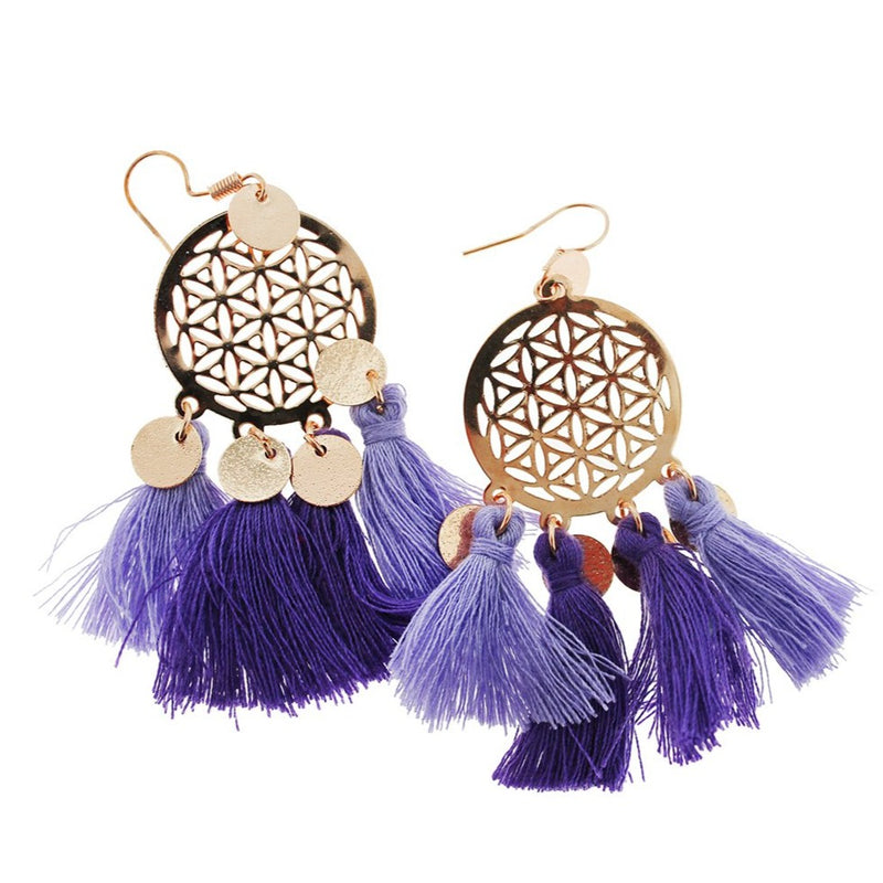 2 Dreamcatcher Tassel Earrings - French Hook Style - 1 Pair - Z1077
