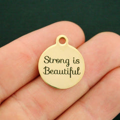 Positivity Gold Stainless Steel Charm - Strong is beautiful - Exclusive Line - Quantity Options - BFS2703GOLD