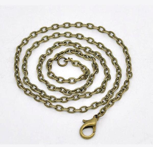 "Antique Bronze Tone Cable Chain Necklace 30"" - 3mm - 12 Necklaces - N066"