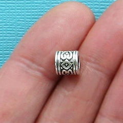 Tube Spacer Metal Beads 7mm - Silver Tone - 12 Beads - SC825