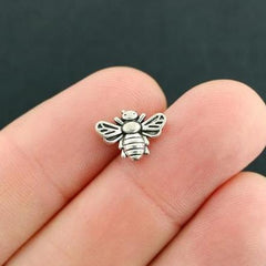 Bee Metal Beads 9mm x 13mm - Antique Silver Tone - 12 Beads - SC7879