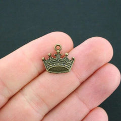 12 Crown Antique Bronze Tone Charms - BC899