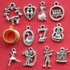 12 Days of Christmas Antique Silver Tone Charm Collection 12 Different Charms - COL239