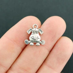 12 Dog with Bone Antique Silver Tone Charms 2 Sided - SC5102
