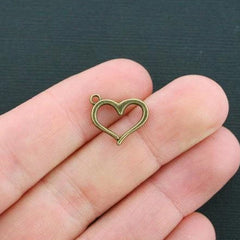 12 Heart Antique Bronze Tone Charms 2 sided - BC1214