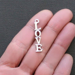 12 Love Antique Silver Tone Charms - SC2246