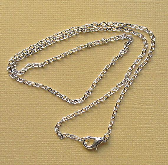 "Silver Tone Cable Chain Necklaces 18"" - 2mm - 12 Necklaces - N002"