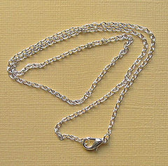 Silver Tone Cable Chain Necklaces 18