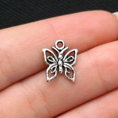12 Butterfly Antique Silver Tone Charms - SC1881
