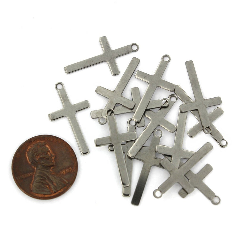 Cross Stamping Blanks - Silver Tone Stainless Steel - 23mm x 12.5mm - 12 Tags - MT694