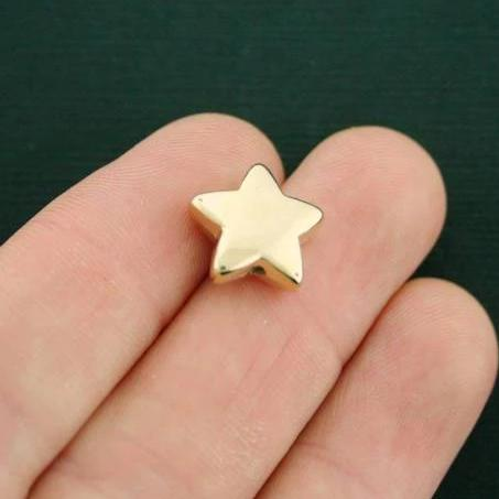 Star Spacer Acrylic Beads 14mm x 13mm x 4mm - Metallic Gold - 12 Beads - GC657
