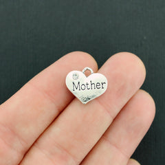 4 Mother Silver Tone Charms 2 Sided With Inset Rhinestones - SC5477