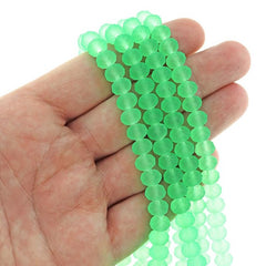Faceted Glass Beads 8mm x 6mm - Frosted Neon Green - 1 Strand 72 Beads - BD2414