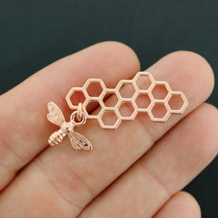 4 Honeycomb Connector Rose Gold Tone Charms - GC1308
