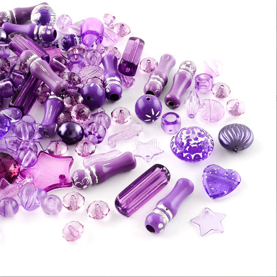 Assorted Acrylic Beads - Purple Grab Bag - 50g 60-90 beads - BD1190