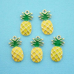 5 Pineapple Gold Tone Enamel Charms - E006